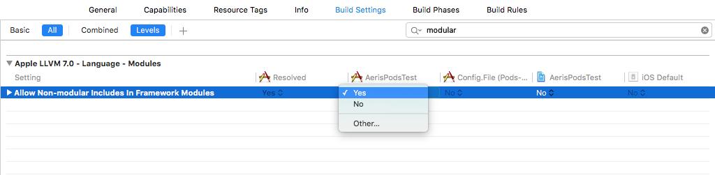 Xcode Non-modular Headers Build Setting