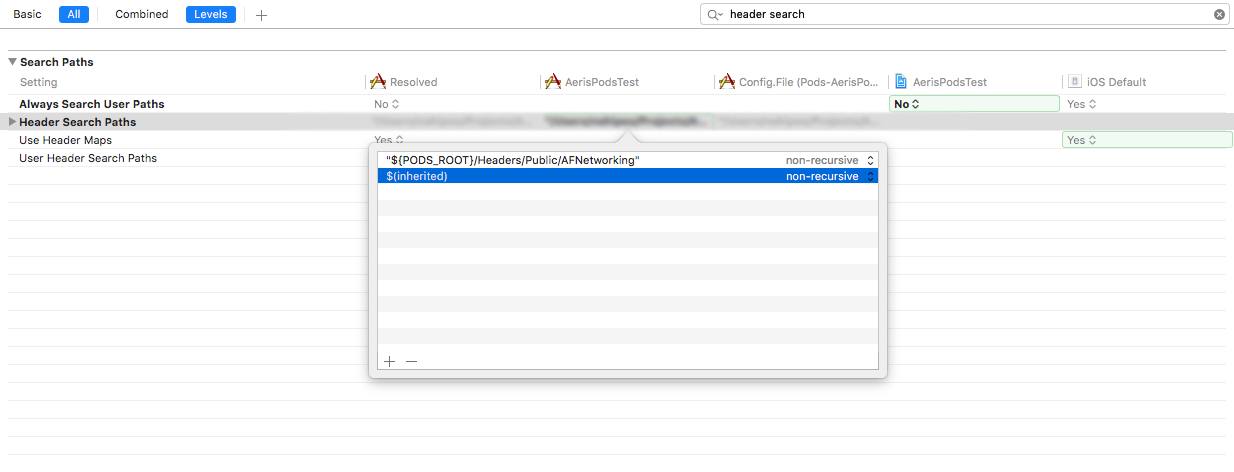 Xcode Header Search Path Build Setting