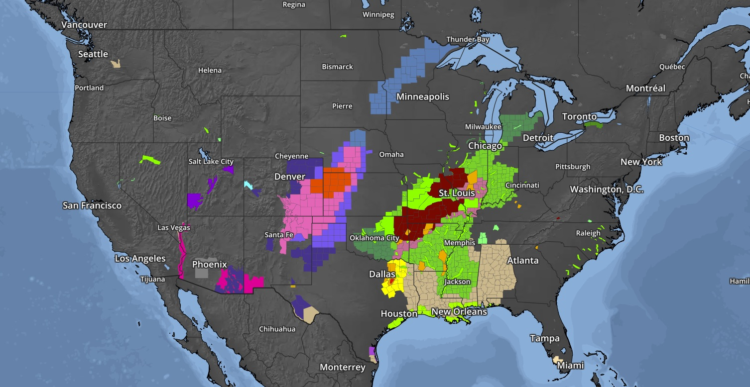 Weather Alerts across the US