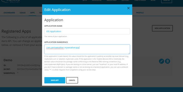 Edit Existing Application