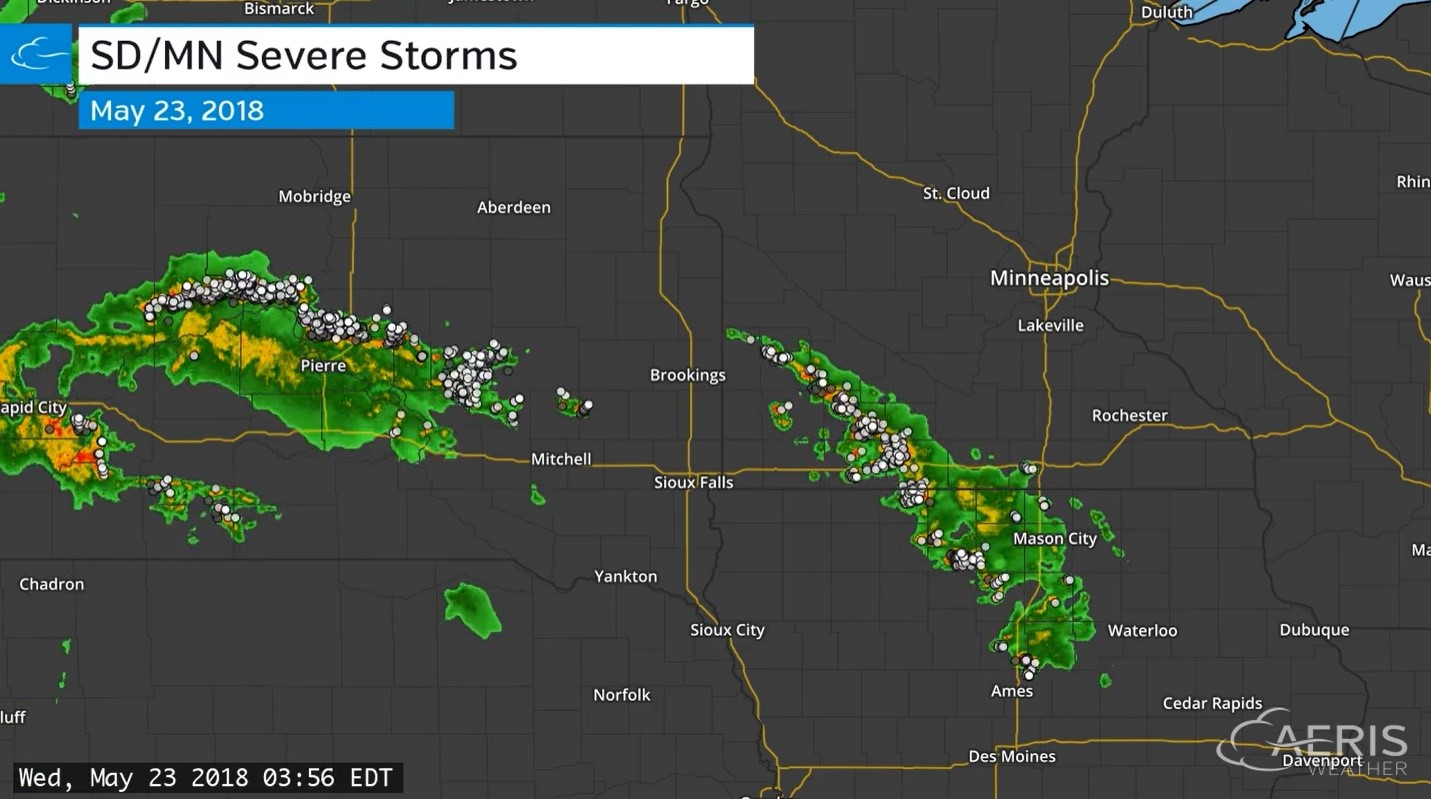 Map of SD and MN severe storms