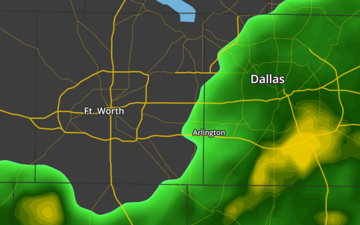 Dallas / Fort Worth Area with Vector-based Radar