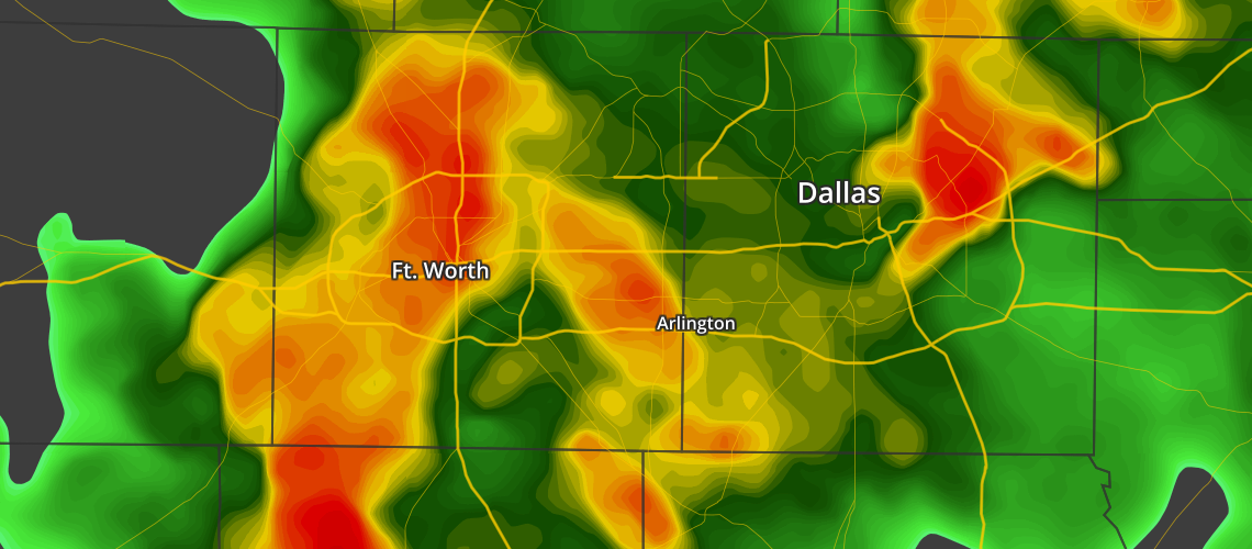 Vector-based Radar of Storms in Dallas / Fort Worth