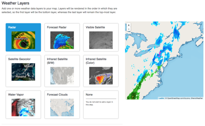 Weather Layers within the weather maps wizard