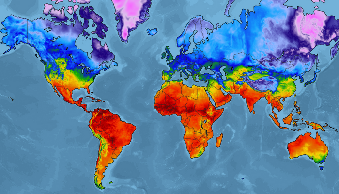Global Temperature Map with Ocean Mask