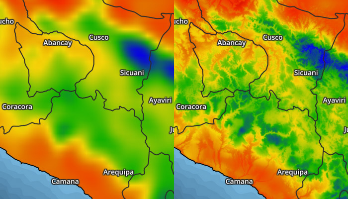 Example temperature map without and with bias adjustments