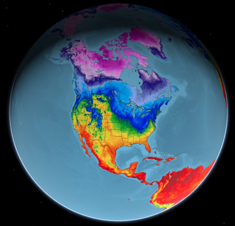 Global Temps with a Water Mask on a Globe
