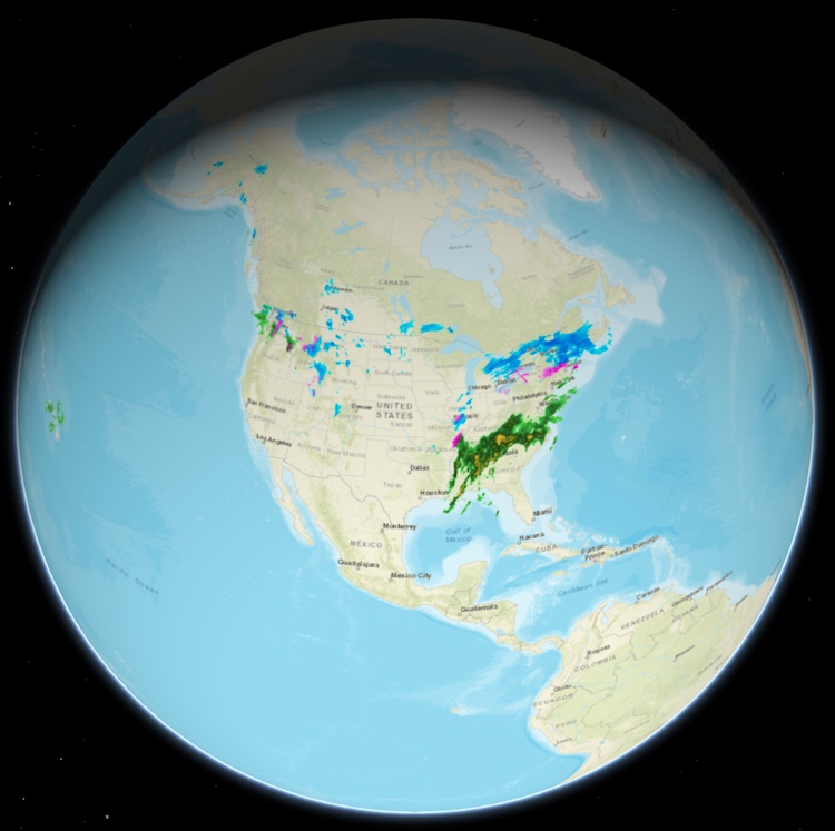 Example of a 3D Weather Map with Radar