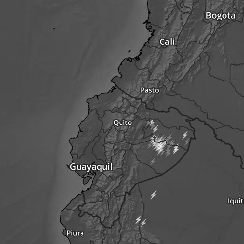 Radar map of Ecuador with lightning overlay