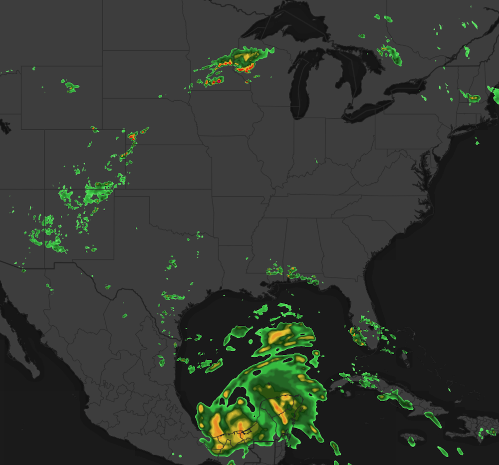 Global Radar Showing storms in Minnesota and Tropical Storm Cristobal in the Gulf