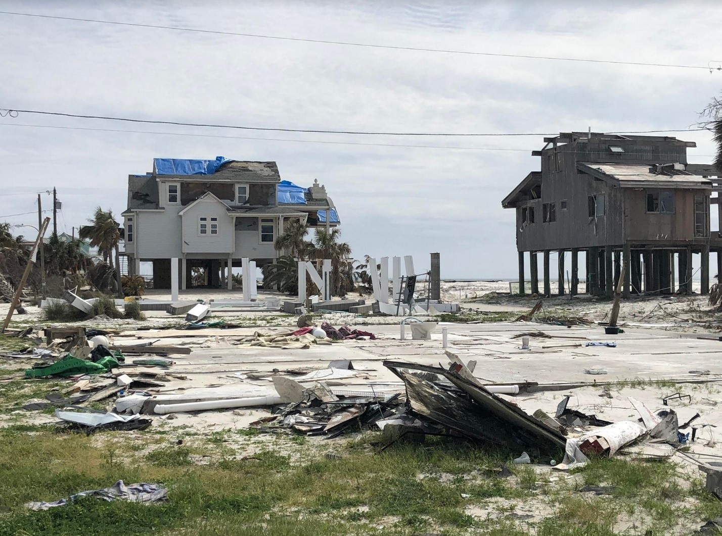 Ruined homes from hurricane michael