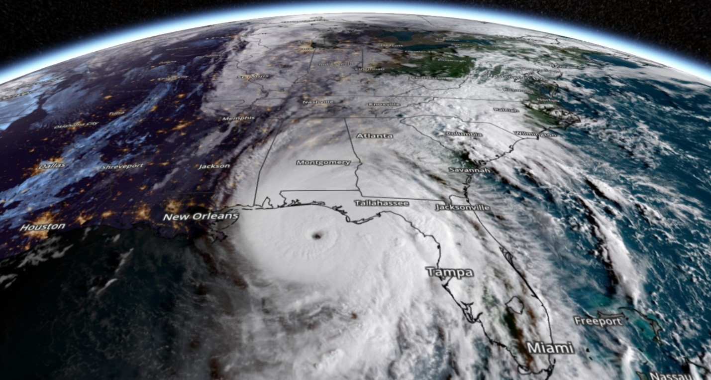 satellite image of earth with hurricane