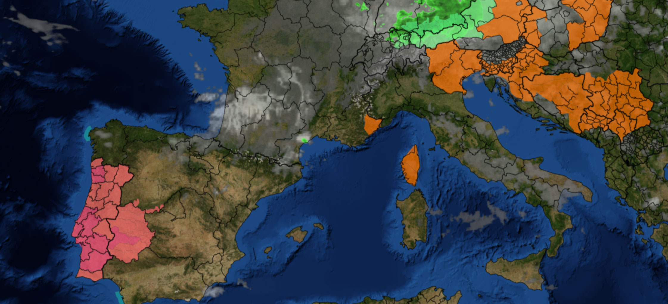 Radar Image of Europe with Weather layers