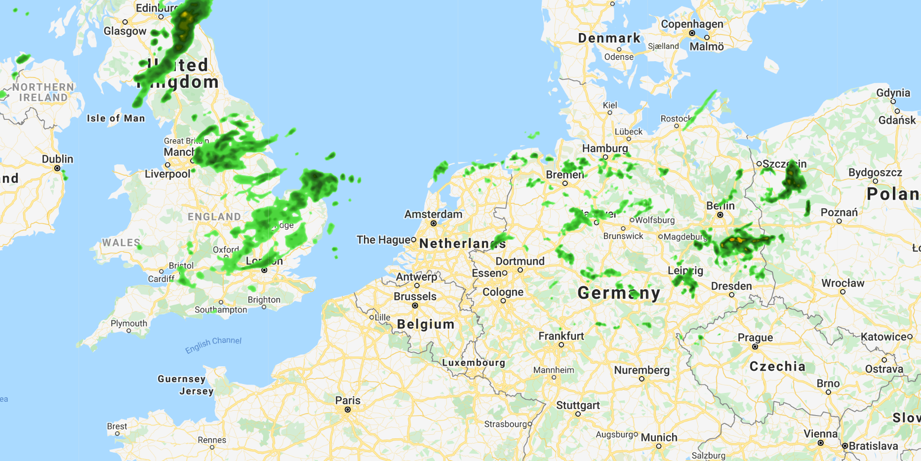 Weather map of Germany and UK