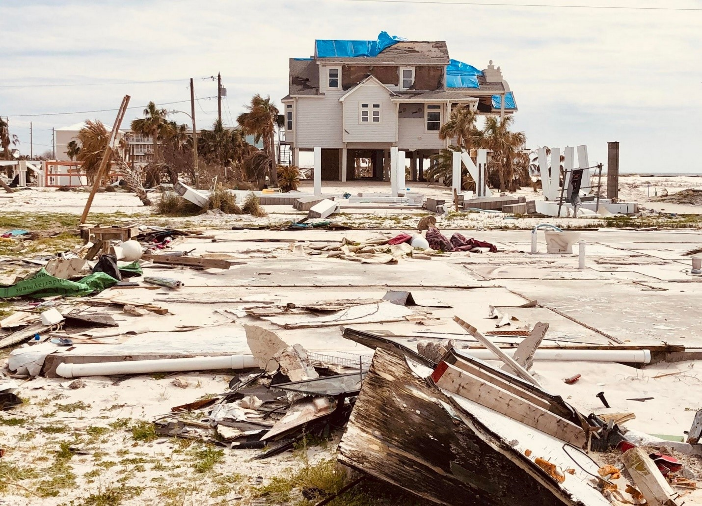 Wrecked home from hurricane