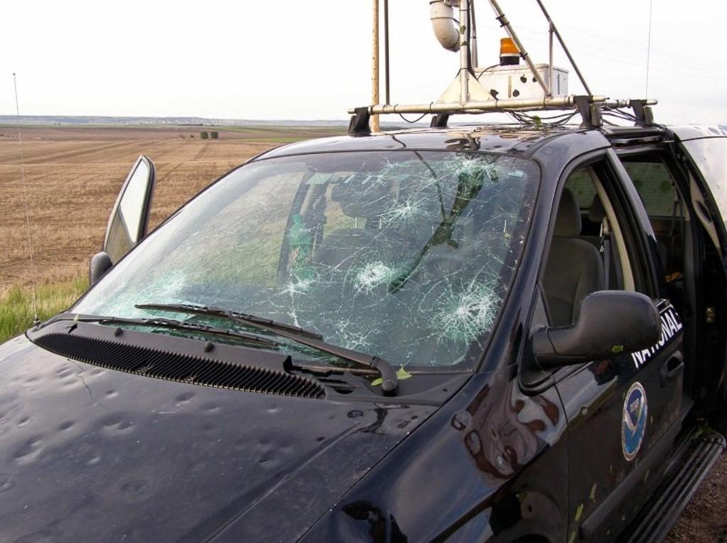 Truck damaged by hail