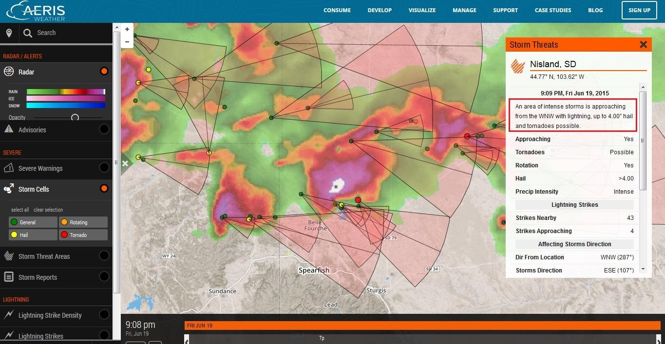 Computer map of hail storms