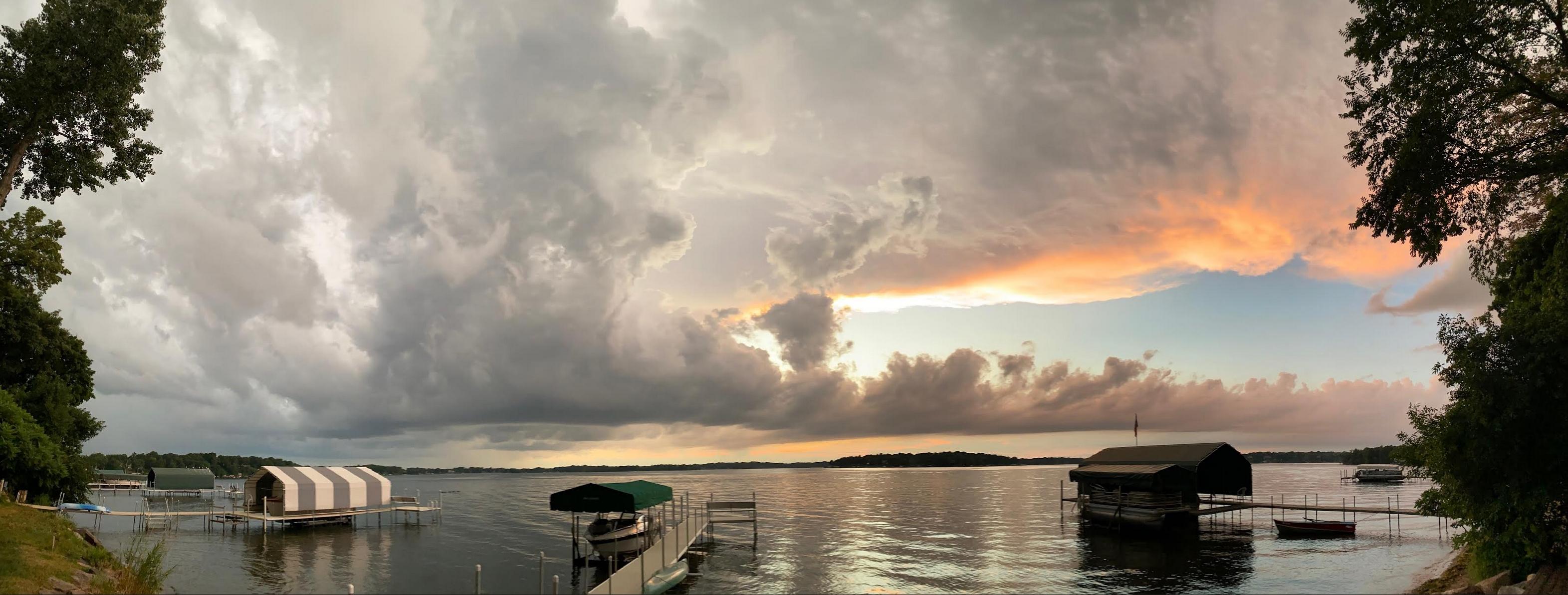 sunset off of lake