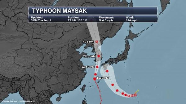 Typhoon-Maysak-path