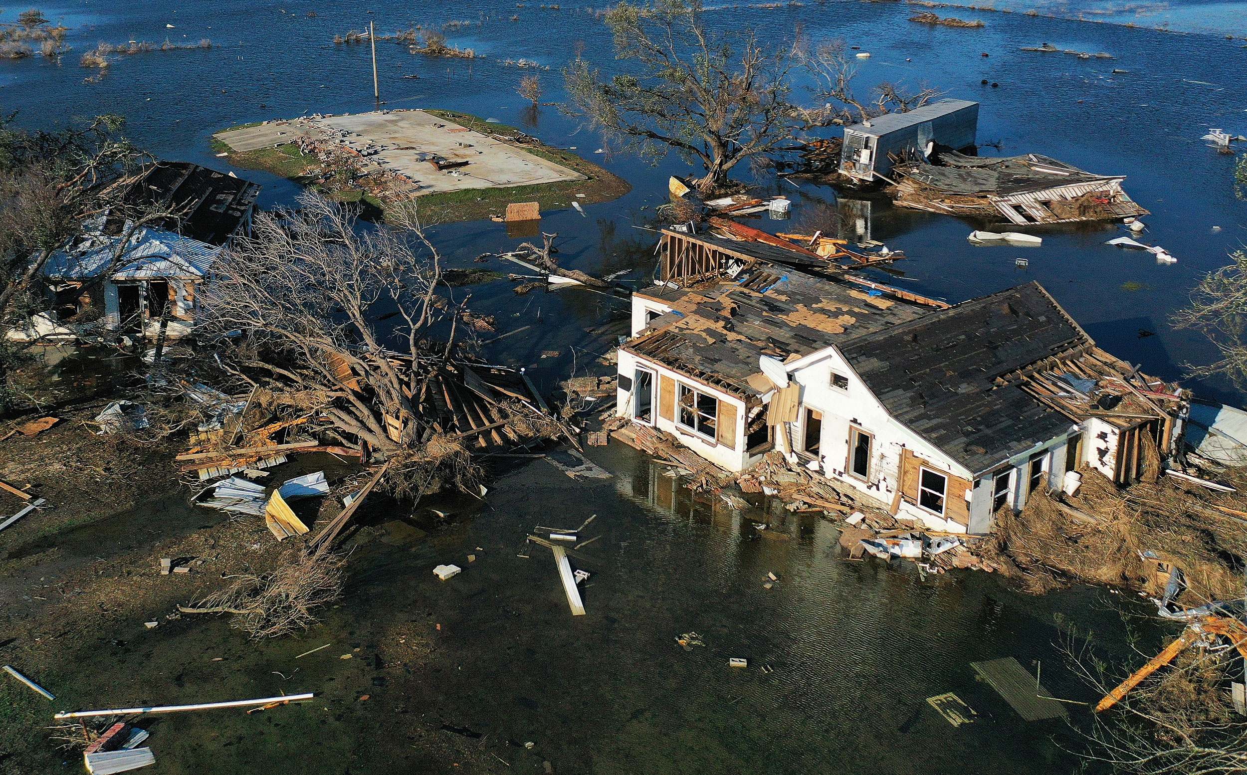 homes in Louisiana destroyed by hurricane delta