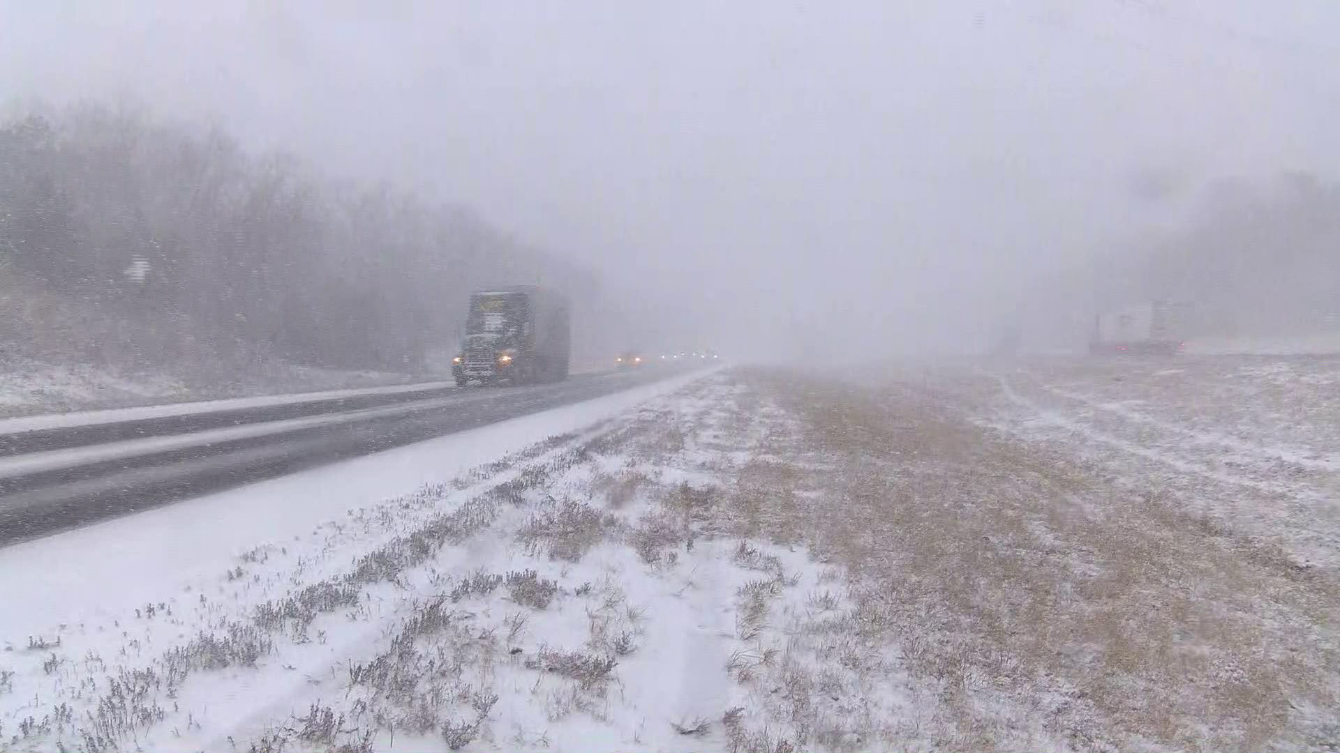 Snow squall causes bad road conditions