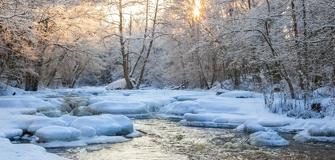 Flowing river in winter