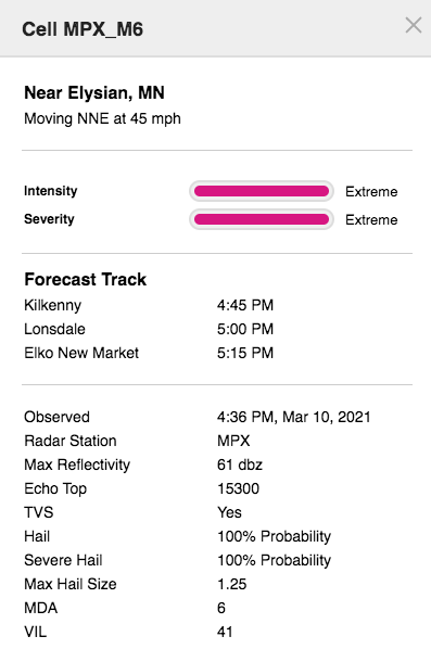 Storm Cell Info Box example
