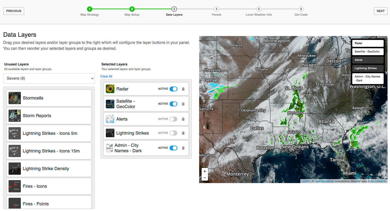 Select your weather data layers of choice.