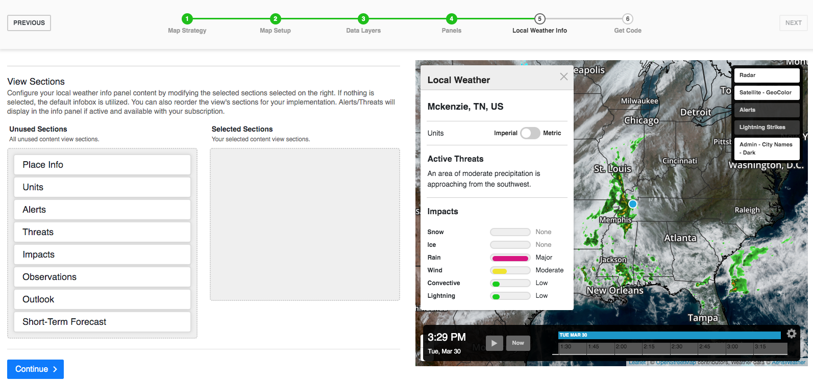 The local weather pane allows you to highlight what data matters most.