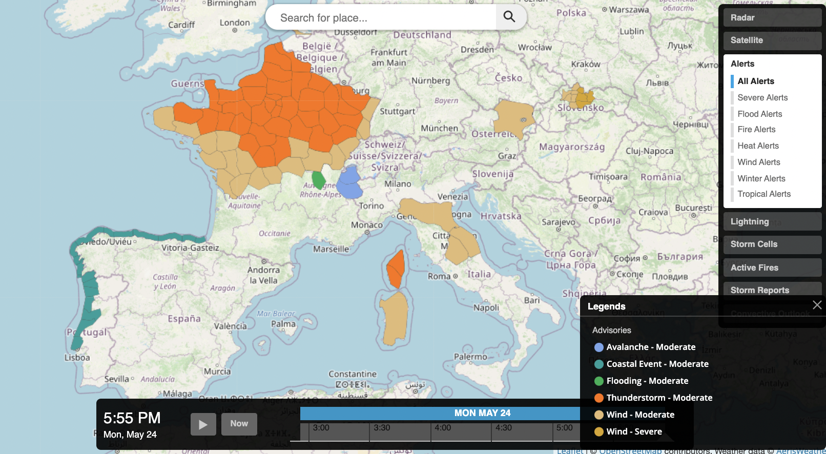 Alerts are available as polygonal imagery via AerisWeather Maps or the AerisWeather API's JavaScript SDK.
