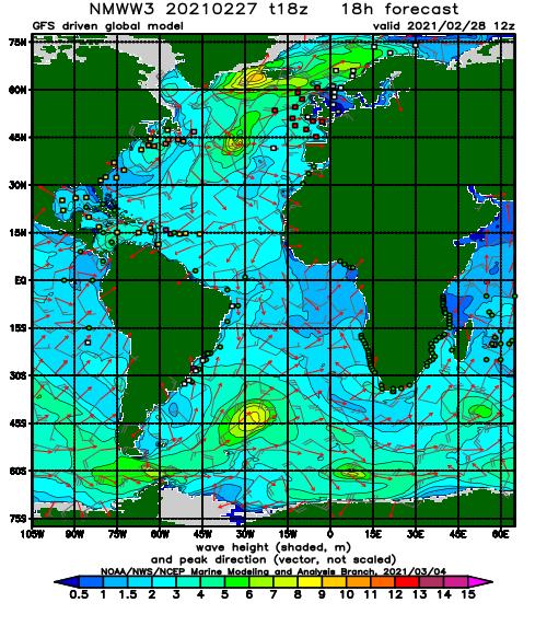 Wave Heights via NOAA