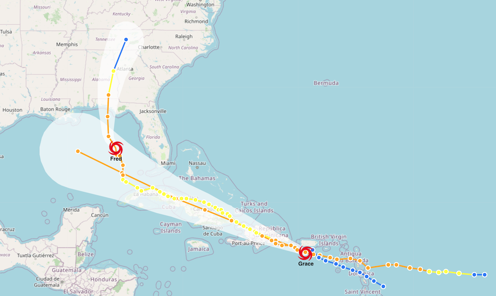 Example of Tropical Storm Fred and Tropical Storm Grace Crossing Paths