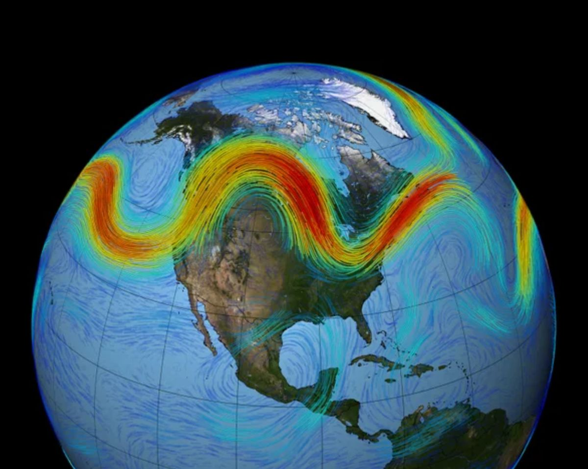 Image of the world from space with wavy line in red, green, and yellow representing the polar jet stream as it passes over the Earth's surface. Image rom NASA.