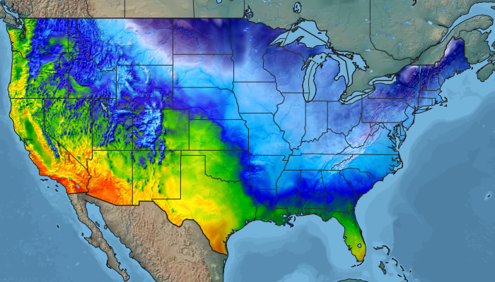 Historic observed temperatures for the continental US.